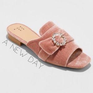 NEW A New Day dusty rose velvet gem slide mules 5
